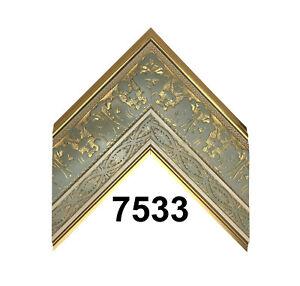 "Custom Picture Frame   3 3/4"" Gold Leaf w Green Floral   Great for Large Artwork"