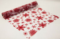 XMAS RED SNOWFLAKE FLOCK ORGANZA CHAIR SASHES / TABLE RUNNER / ROLL CHRISTMAS