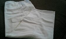 Womens LH COTTONWORKS SCRUBS Pants XS Pockets Extra Small 30 inseam WHITE THICK