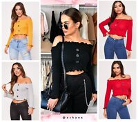 Ruffle Frill Knitted Ribbed Bardot Off Shoulder Button Front Cropped Jumper Tops