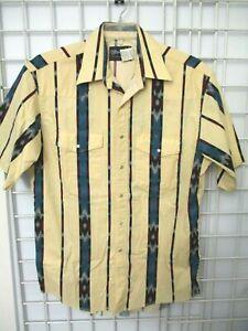 Vintage Wrangler Striped Aztec Western Pearl Snap Short Sleeve Shirt Sz L