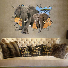Animal 3D Elephant Removable Wall Art Decal Wall Sticker Home Kids Bedroom Decor