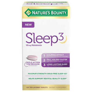 NEW Nature's Bounty Sleep3 10mg. Melatonin, 120 Tablets  Triple Action