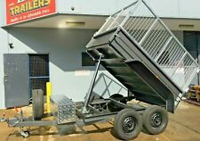 TANDEM TIPPER TRAILER WITH CAGE DEEP SIDES 8X5FT AUTO HYDRAULIC AUSTRALIAN MADE