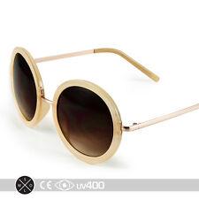 Cream Gold Vintage Inspired Retro Steampunk Round Circle Sunglasses  S065