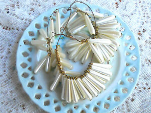 #953 Vintage Beads Drops Dangles Teardrop Pearl Japan Charm Charms Pendant NOS