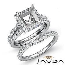 Princess Diamond Semi Mount Engagement Wedding Ring Bridal Set Platinum 950 1.88