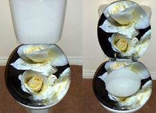 Designer Novelty Printed Toilet Seat - White Rose Design