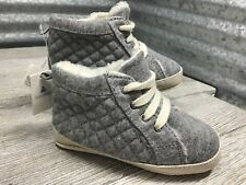 Gap Fabric Unisex 18-24 Months Grey High Top Lace Up Quilted Shearling Lined NWT