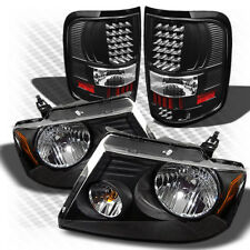 For 04-08 F150 Black Headlights + Black LED Perform Tail Lights