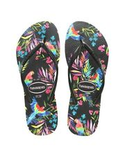 New Havaianas Slim Tropical Black Black Floral Thong Sandals size 7/8