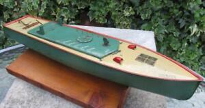 DW tinplate clockwork speed boat 'CIRCE' 1935 works Hornby bing  17.5 inch