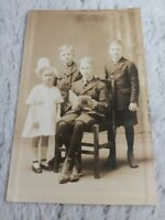 Antique Real Photo Postcard of Kids Reading 1 Girl and 3 Boys RPPC