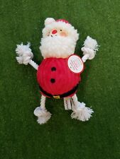 Christmas Xmas Santa Dog Plush Tug Toy Interactive Chew Toy Squeak Play Fun