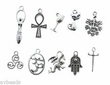 Jewelry Making Charms for Crafts Wicca Charms Mix Set Silver Metal 100pcs Pagan