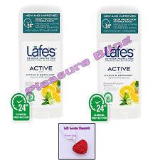 Lafe's Body Natural Organic Deodorant Stick ACTIVE (2 Pack) & Rhinestone Heart
