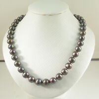 9.5-10.5mm Chocolate Cultured Pearl Knot between Each Pearl Necklace TPJ