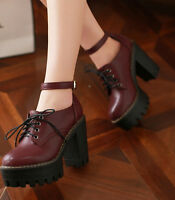 Roman Goth Block High Heels Womens Ankle Strap Lace Up Platform Boot Shoes Pumps