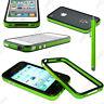 Housse Coque Etui Bumper Vert / Noir Apple iPhone 4S 4 + Stylet