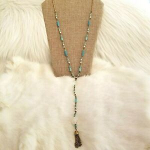 Vintage Southwest Style Tassel Bead Long Necklace Aqua Gold Tone Long Chain 1866