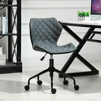 HOMCOM Home Office Swivel Desk Chair Nylon Wheels Adjustable Height Linen Grey