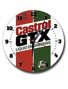 "CASTROL GTX 250MM/10"" DIAMETER METAL WALL CLOCK,GARAGE CLOCK,WORKSHOP CLOCK,OIL."