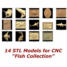 "14 3d STL Models - "" Fish Collection "" for CNC relief artcam 3d printer aspire"
