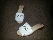 KATE SPADE NEW YORK-Brie-Kilty Slides-White Leather-Size 7-NEW