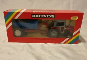 Britains 9587 Tractor And Tipping Trailer, Boxed Massey Ferguson 595