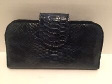 """Genuine Leather Embossed Python Woman Clutch Wallet 8""""x4""""x1.5"""" Blue"""