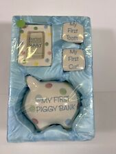 Burton & Burton Baby Piggy Bank Picture Frame First Tooth First Curl Gift Set