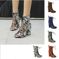 5 Colors Ladies Summer Hollow Out Lace Ups Snakeskin Pattern Sandals 45/46/47/48