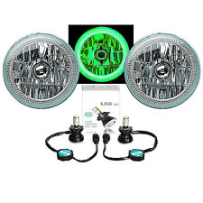"7"" Green COB LED Halo Angel Eye Headlights 6K 4000Lm LED Light Bulb Headlamp Kit"