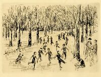 "Original 1925 Etching MAX LIEBERMANN ""Eislauf"" (Ice Skating)"