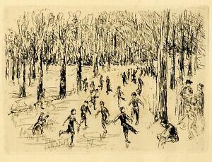 """Original 1925 Etching MAX LIEBERMANN """"Eislauf"""" (Ice Skating)"""