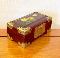 VINTAGE CHINESE WOODEN JEWELLERY BOX SOAPSTONE ORIENTAL TRINKET  BOX