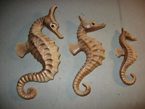 Vintage Kelvin Exclusive Three Piece Seahorse Bathroom Wall Art Plaques
