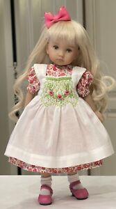 "10"" Doll Boneka Floral Dress + Smocked Pinafore 4 Effner Monday Tuesday Child"