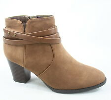 Women's Zip Almond Toe Straps Western Chunky Heel Boots Shoes Size 5.5 - 11 NEW
