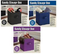 HANDY FOLDABLE STORAGE BOX Collapsible Cube Basket Organiser Fabric Folds Flat