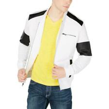 INC Mens White Faux Leather Trim Zip Up Coat Jacket XS BHFO 2058