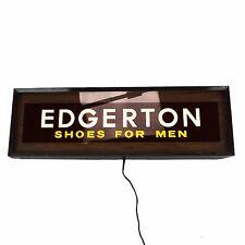 Vintage Edgerton Mens Shoe Sign Lighted Metal Union Wood-Grain Wall Hanging