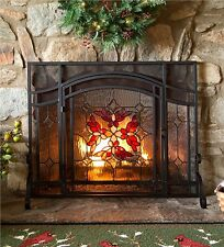 """Wrought Iron Fireplace Screen w Door Stained Glass Hearth Screen 44"""" x 33"""""""