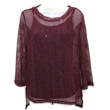 INC Womens M Top Burgundy Layered Fishnet Embellished Stretch Long Sleeve Cami