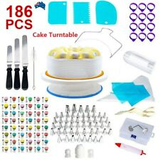 186Pcs Cake Decorating Kit Rotating Turntable Baking Flower Icing Piping Nozzles