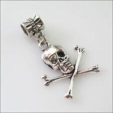 3Pcs Tibetan Silver Halloween Skull Charms Bail Beads Fit Bracelets 21x35mm