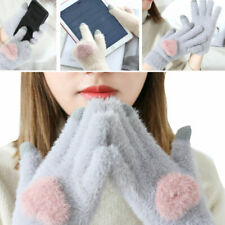 Fuzzy Cozy Glove Winter Knit Warm Full Finger Mittens Touch Screen Outdoor Sport