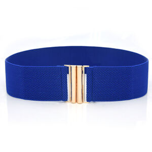 Women Elastic Waist Belt Gold Metal Buckle Solid Color Stretch Wide Corset Belt♪