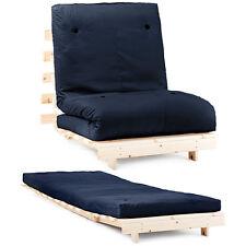 "Navy 2ft 6"" Single Children's Bedroom Futon Wood Sofa Bed Cotton Twill Mattress"