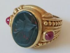Judith Ripka 18k Solid Yellow Gold Bloodstone & Ruby Intaglio Ring